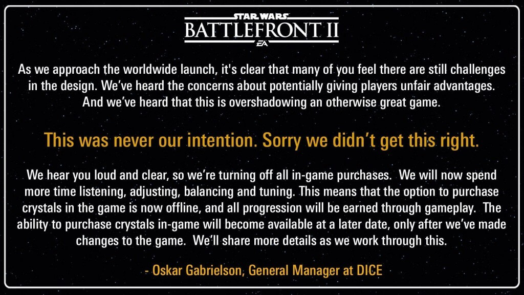 Star Wars Battlefront II Microtransactions