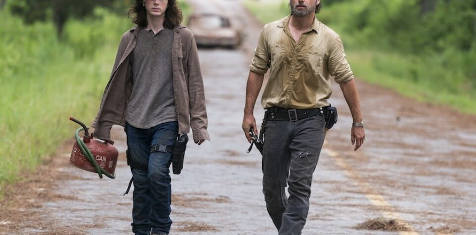 Andrew Lincoln as Rick Grimes, Chandler Riggs as Carl Grimes - The Walking Dead _ Season 8, Episode 8 - Photo Credit: Gene Page/AMC