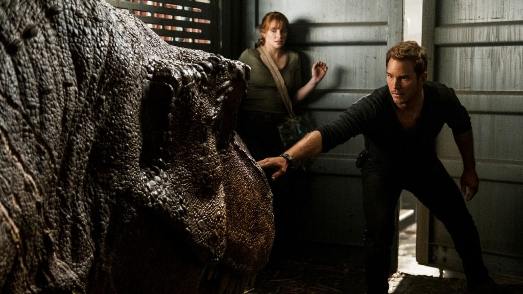 T-Rex, Chris Pratt, Bryce Dallas Howard, Jurassic World: Fallen Kingdom