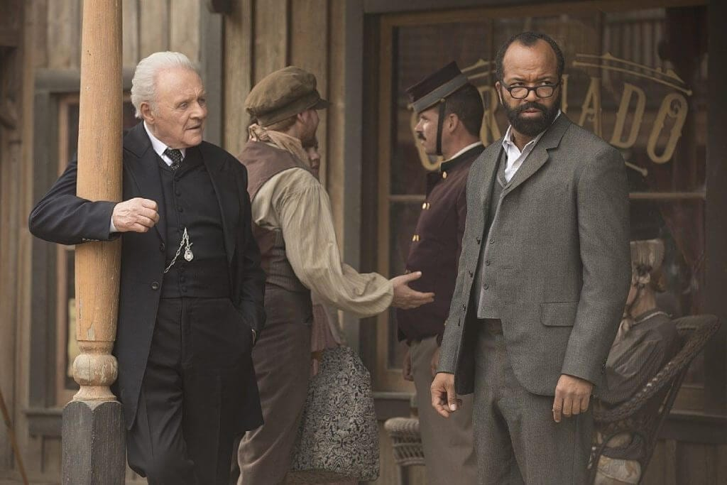 Anthony Hopkins, Jeffrey Wright, Ford, Bernard, Westworld, Les Escorches