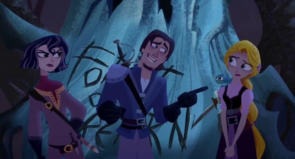 Rapunzel's Tangled Adventure, Forest of No Return, Rapunzel, Eugene, Cassandra